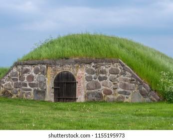 Earth cellar on Kronborg castle, Helsingor, Zealand, Danmark, Europe
