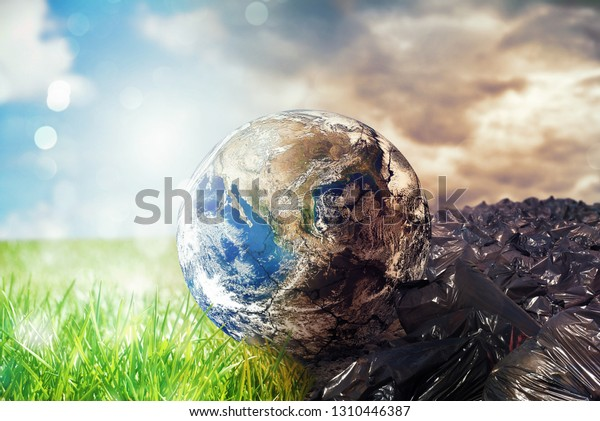 Earth is chancing due to pollution and undifferentiated trash. Save the World. World provided by NASA