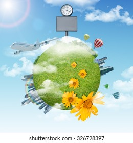 Earth with city and clock on blue sky background