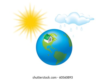 earth climate sun globe house weather