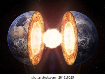 Earth core structure. Elements of this 3d image furnished by NASA