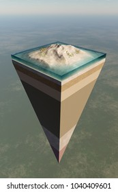 Earth core structure illustrated with a layered cross-section shown high in the sky ( 3D rendering)