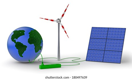 earth covered with grass, wind generator and solar panel