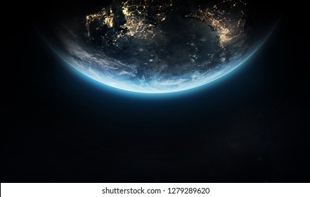 Earth in dark space. Wallpaper with isolated planet on black background. Elements of this image furnished by NASA