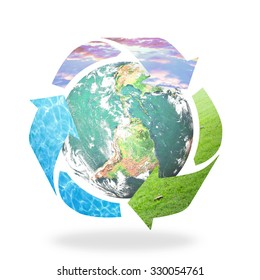 Earth day concept: Recycle arrow symbol made of grass, water and sky texture protecting earth globe. Elements of this image furnished by NASA