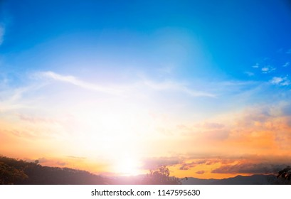 Earth day concept:Vintage photo of abstract nature background with sky in sunset