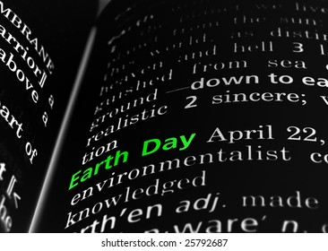 Earth Day in a dictionary, green on black
