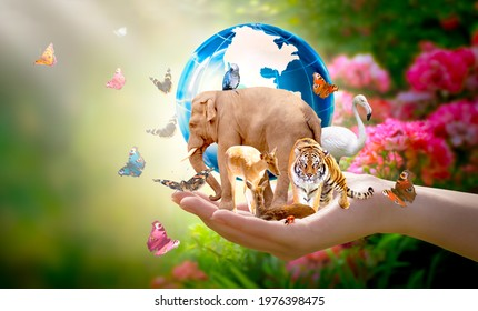 Earth Day or International Day for Biological Diversity concept. Group of animals, butterflies and globe in hand. Saving our planet, protect wildlife nature reserve, protection of endangered species.