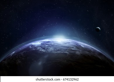 Earth in the deep space. Stars and moon on the background. Elements of this image furnished by NASA. Astronomy and science concept. The Blue Marble