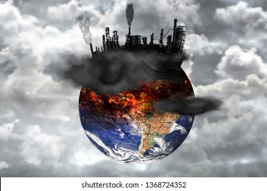 Earth destroyed by pollution. Global catastrophe concept (greenhouse effect, global warming are destroying our planet).