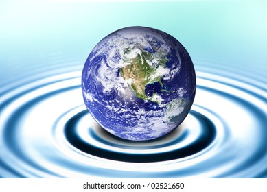 Earth drop on water,Elements of this image furnished by NASA