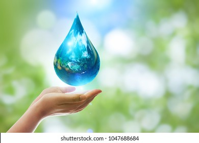 earth in drop shape from on two hand.Elements of this image furnished by NASA. United Nations Climate Change Conference.World Day for Water