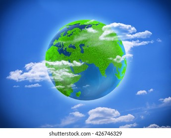 earth. ecology. green planet on a blue background
