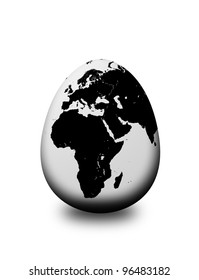 earth egg isolated over white background