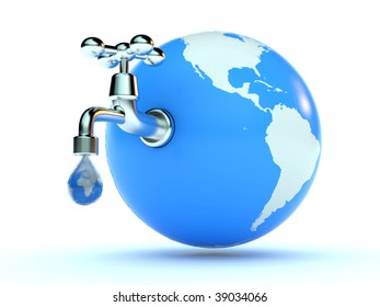earth with faucet