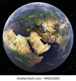 Earth focused on Middle East viewed from space. Countries viewed include Turkey, Syria, Lebanon, and Israel. Image elements furnished by NASA.