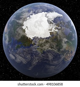 Earth focused on North Pole viewed from space. Image elements furnished by NASA.