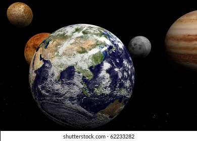 Earth in front of planets