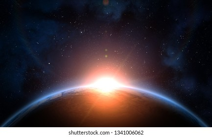 Earth, galaxy, nebula and Sun. Sunrise, view of earth from space. Elements of this image furnished by NASA.