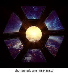 Earth and galaxy in spaceship window porthole. Elements of this image furnished by NASA