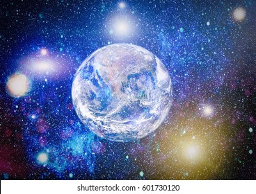 Earth, galaxy and sun. Elements of this image furnished by NASA.