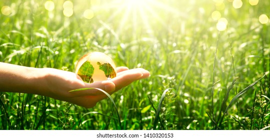 Earth glass globe in human hand on green grass background. Saving environment concept.
