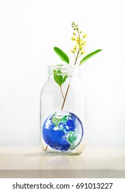 Earth in a glass jar with flower, World environment day concept, Element of the image furnished by NASA
