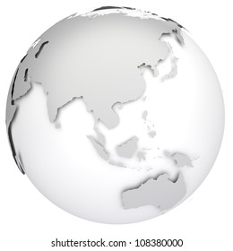 Earth globe 3d model. Side of Asia, Australia and Indonesia.