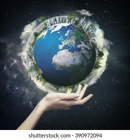 Earth globe against  starry backgrounds, environmental concept