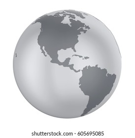 Earth Globe America View Isolated. 3D rendering