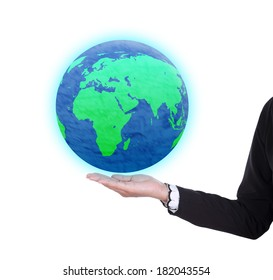 earth globe in business woman hand isolated on white background