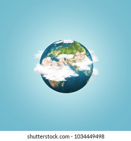 Earth globe with clouds over blue sky background. Abstract conceptual image. Elements of this image furnished by NASA