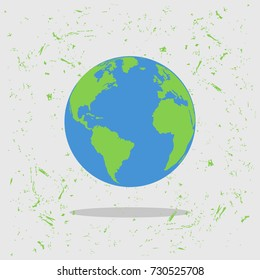 Earth, globe in cool design on grunge background