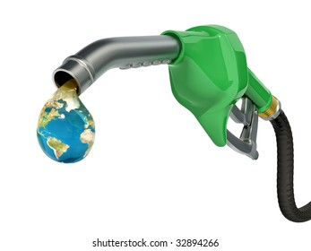 Earth globe drop coming out of gas pump - Ecology concept