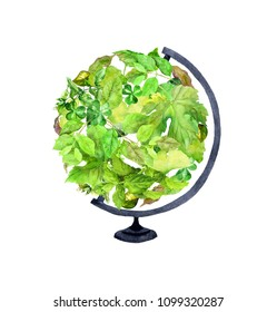 Earth globe with fesh green leaves and grass. Ecologic watercolor for Earth day, World Environment day, ecology design