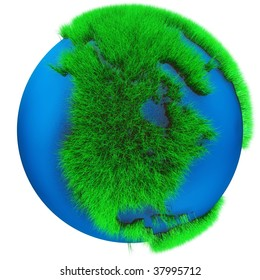 Earth Globe with grass view of North America