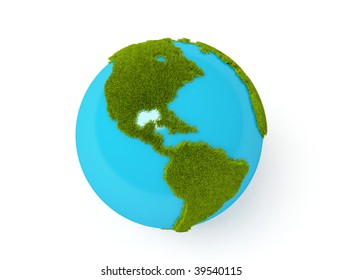 Earth Globe with grass view of north and south america over white background