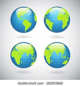 Earth globe icons set with world map continents and oceans isolated  illustration
