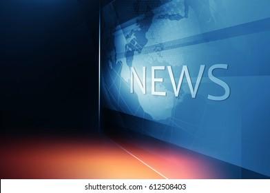 Earth Globe inside Big Flat TV Screen with News Text; Dark Blueish Theme. 3d Illustration