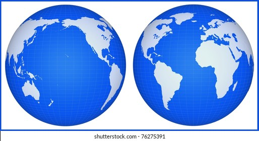 The earth globe isolated on a white background. Continents and meridians are represented conditionally and are not exact geographical.