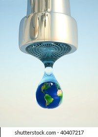 Earth globe in last drop of environment resources - 3d render