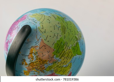 Earth globe map with focus on Asia, Russia, Canada, North Pole