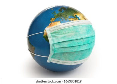 Earth globe and medical mask to protect against coronavirus