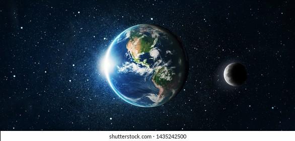 Earth globe and moon over star space background. Elements of this image furnished by NASA