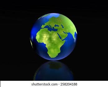 Earth globe on the black reflective background.