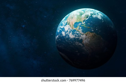 Earth globe on the galaxy background. Elements of this image furnished by NASA. Space art. Astronomy and science concept. Earth Hour and Earth Day event theme