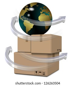 Earth globe on top of brown cardboard boxes / Global distribution