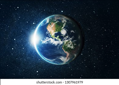 Earth globe over star space background. Elements of this image furnished by NASA