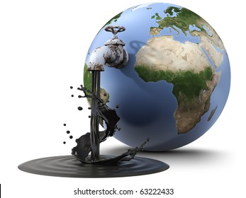 Earth globe pouring oil through a valve (3d render)