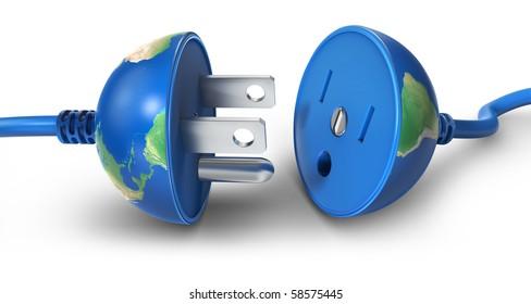 Earth globe as a power plug  (3d render)